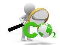 Grafika przedstawiająca ludzika z lupą i napis CO2.