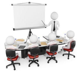 Grafika przedstawiająca ludziki biorące udział w szkoleniu.