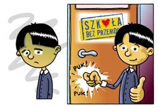 rysunek - chłopiec pukający do drzwi