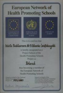 """Certyfikat """"Szkoły Promującej Zdrowie"""""""