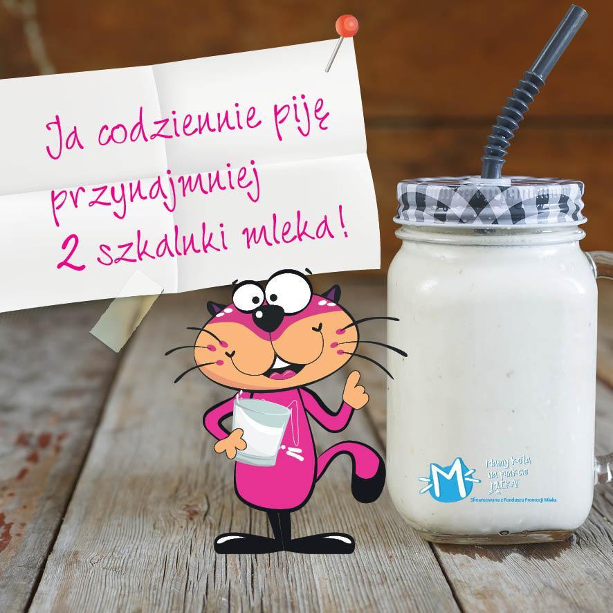 "Plakat akcji ""Mam kota na punkcie mleka"""