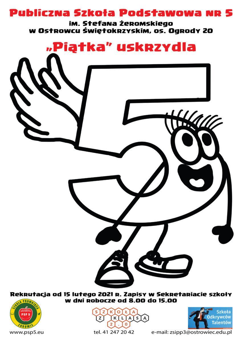Plakat rekrutacyjny do PSP 5 -rysunek uśmiechniętej cyfry 5 ze skrzydełkami