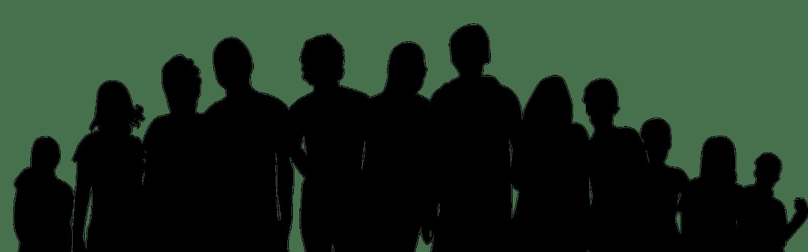 Grafika przedstawia 12 sylwetek osób w kolorze czarnym.