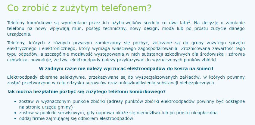 Informacja na temat zużytych telefonów