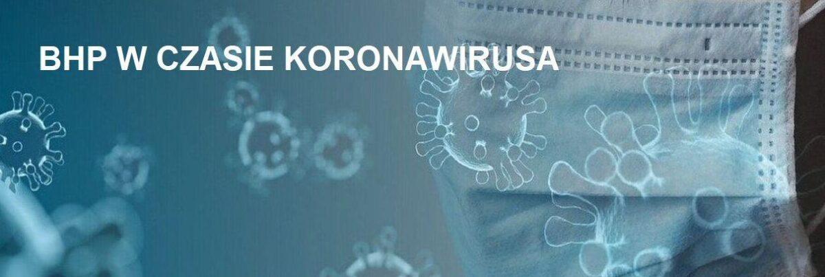 """Baner informacyjny - rysunki koronawirusa i napis: """"BHP w czasie koronawirusa""""."""