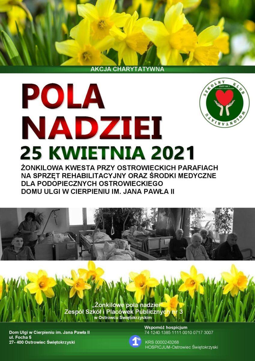 """Plakat promujący akcję charytatywną """"Pola Nadziei."""""""