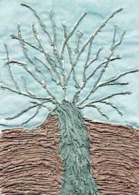 Praca plastyczna przedstawiająca drzewo